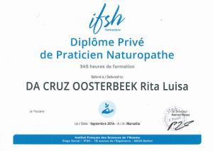 Diplôme de naturopathe de Rita Oosterbeek nécessaire à l'exercice de son activité de naturopathie, ayurvéda et soins naturels.