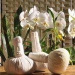 Outils de massage elakizhi et podikizhi. Ce sont deux types de massage ayurvédique pour lesquels on utilise des pochons noués aux plantes médicinales sèches ou en poudre.