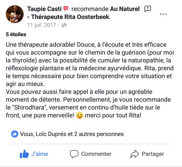 Avis témoignage Rita Oosterbeek naturopathie ayurvéda Marseille 13008